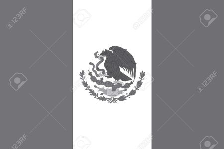 Illustrated grayscale flag of the country of Mexico